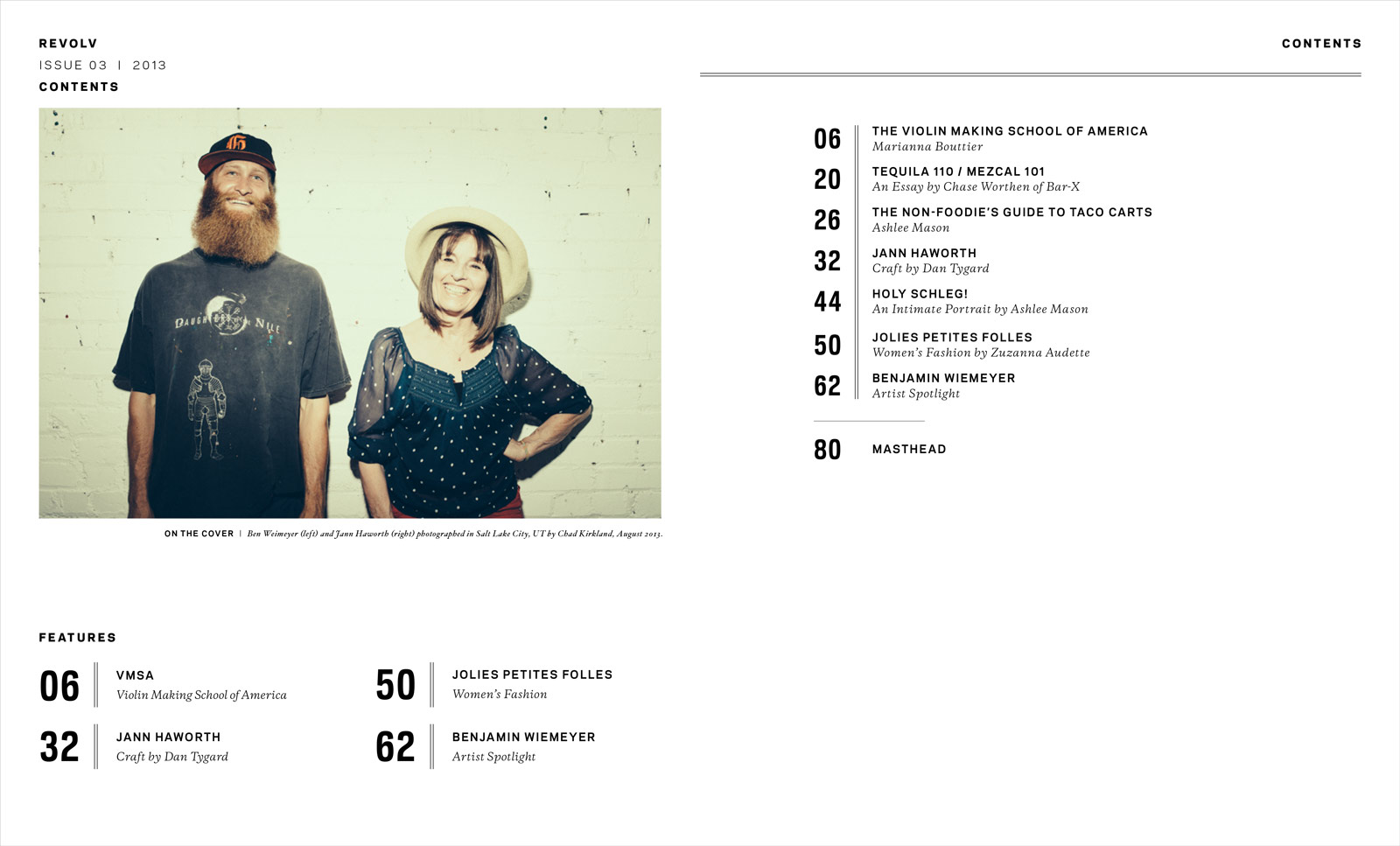 Revolv Magazine Table of Contents